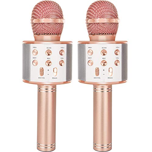 YONHAN 2 Pack Karaoke Microphone, Wireless Bluetooth Karaoke Microphone for Singing, Portable Handheld Mic Speaker Machine, Great Gifts Toys for Girls Boys Adults All Age (Rose Gold)