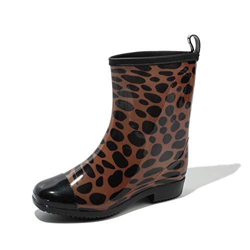 Xiayut Rubberen laarzen voor dames, modieus, eenvoudig, outdoor, bruin, luipaard, afzonderlijke schoenen, gemiddelde buis, rubber, waterdicht, regenschoenen, lage doek, dames, laarzen water