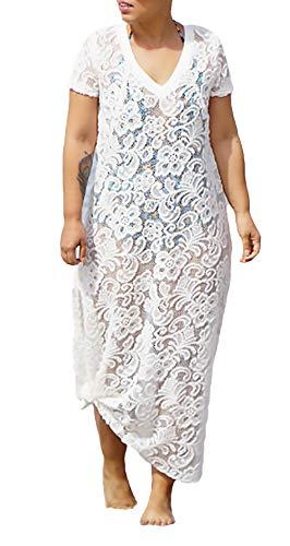 Dames bikini Cover Up zomer vakantie lange vrije tijd kant Vacation geschenken strandjurk lichte gezellige mode elegante korte mouwen V-hals Maxikjurk Tunikakjurk White