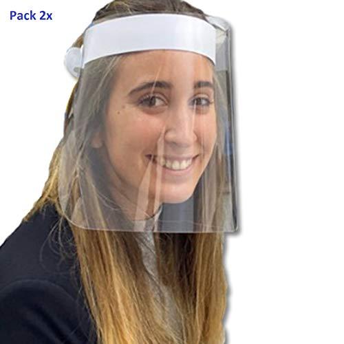 Pack 2X Pantalla Protección Facial. HOMOLOGADA. Permite Bascular hacia Atras. Fabricado en España. Face Shield.