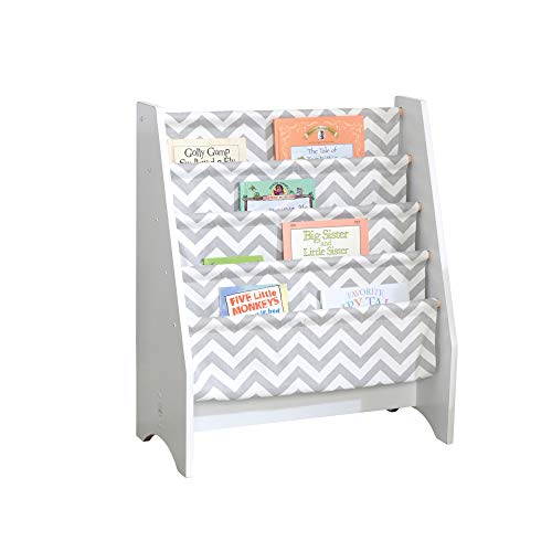 KidKraft Wooden Sling Bookcase, Sturdy Canvas Fabric, Chevron Pattern- Gray & White