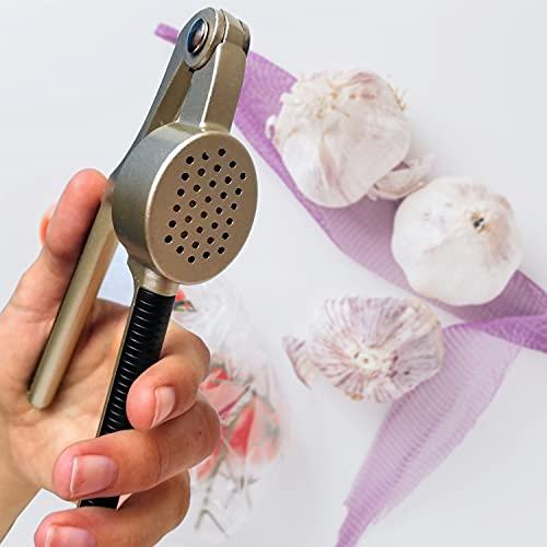 Prensa Ajos. Utensilio de cocina: Picador de Ajo. Machacador de Ajos Fácil de Usar. Pica Ajos con Mango Antideslizante. (Prensa Ajos Acero)