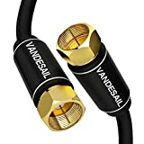 75 ohm coaxial cable with f type - Coaxial Cable Triple Shielded, VANDESAIL RG6 Coax Cable 75 Ohm with Gold Plated F-Type Connector Pin TV Cable, for Cable TV, Antenna, Satellite and More(10 Ft, Black)