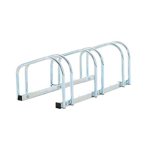 HOMCOM Bike Stand Parking Rack Floor or Wall Mount Bicycle Cycle Storage Locking Stand (3 Racks)