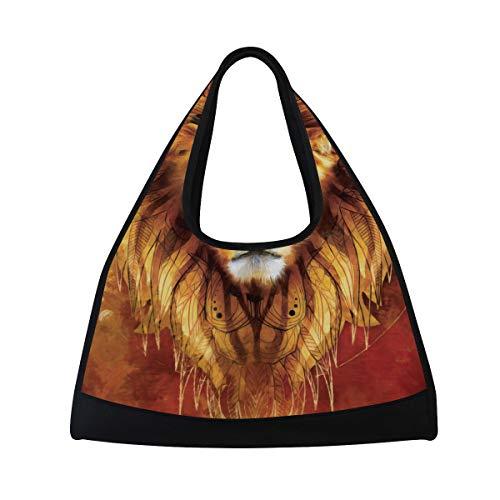 NISENASU Sporttasche,Realistisches modernes Ölgemälde Lion Canvas,Neue Sport Reisetaschen Tennisschläger Rucksack Badminton Kurze Reisetaschen tragbare Umhängetasche (20×6.7×18.5 inch)