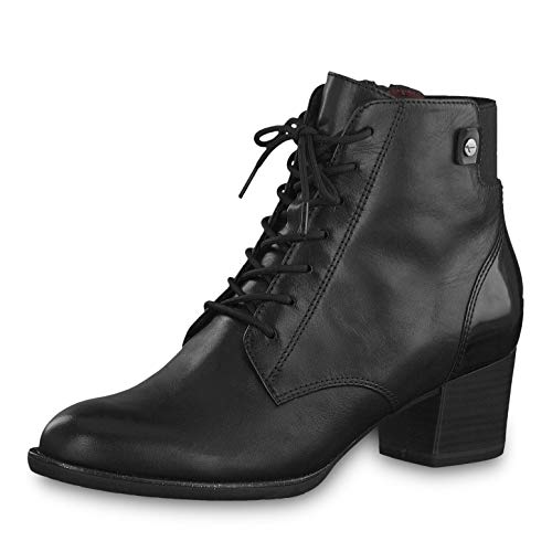 Tamaris Women Ankle Boots 25112 23, Ladies lace Ankle Boot, Boots,Chukka Boot,Half Boots,Lace Up,Bootie,Zipper,Black,39 EU 5.5 UK