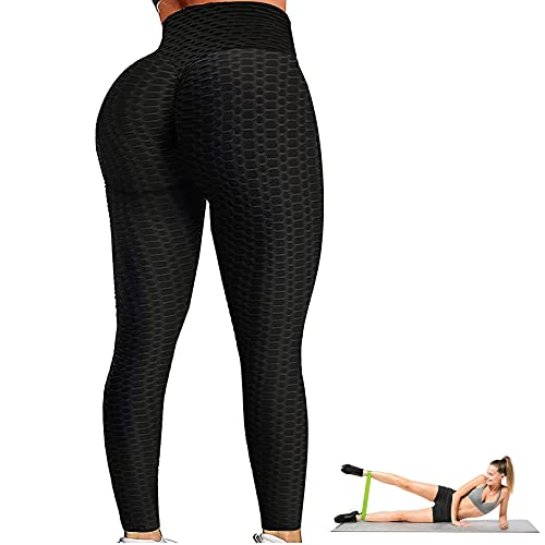 Ermete Women's High Waist Yoga Pants Tummy Control Slimming Booty Leggings Workout Butt Lift Running Butt Lift Tights with Elastic Band(Black, S)