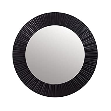 Kiera Grace Groove 20-Inch Round Mirror, Black