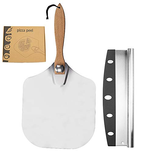massager Metal Pizza Peel-foldable oak handle-12 inches x 14 inches-with a pizza cutter, Pizza Peel is perfect for baking pizza, bread, cakes, pies