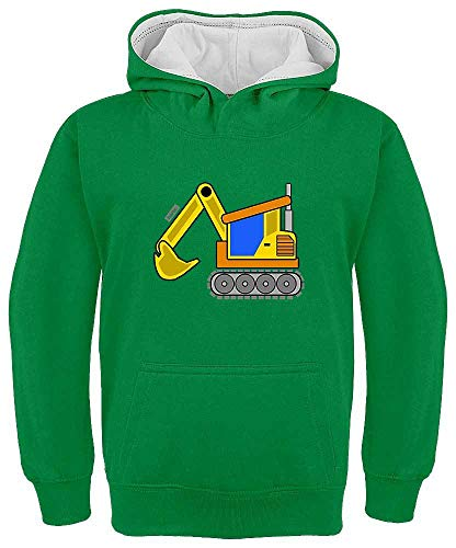 Sudadera con capucha para niños de Hariz, con contraste, color amarillo, excavadora,...