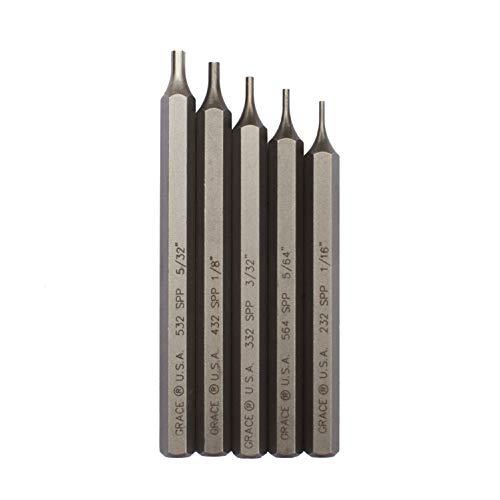 Grace USA - Starter Short Pin Punch Set - 5 Piece Punch Set - GRSPP5 - Gunsmith Tools & Accessories, Black