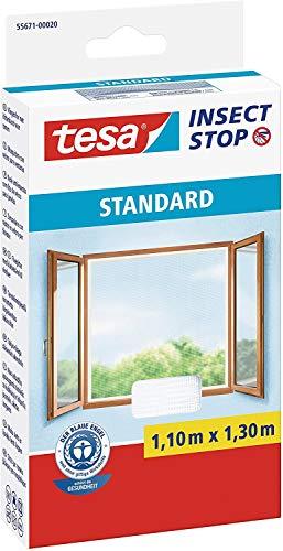 tesa Insect Stop Standard Fliegengitter für Fenster - Zuschneidbares Moskitonetz - Mückenschutz ohne Bohren - Fliegen Netz weiß, 110 cm x 130 cm (2)