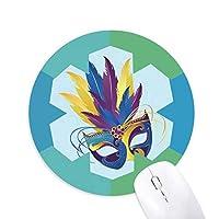 ベニスのカーニバルのマスクの幸せな青い羽 円形滑りゴムの雪マウスパッド