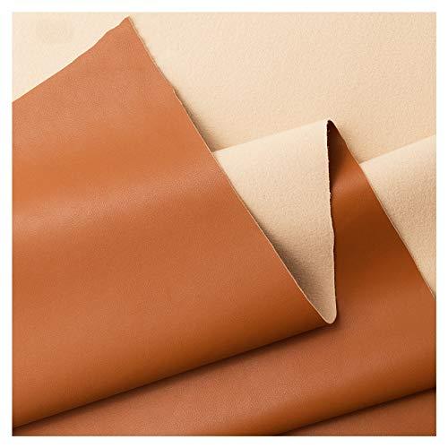 Material de Tapicería de Piel Sintética 138 Cm de Ancho Cuero Sintético Resistente para Sofá, Tela, Asiento, Cabecera de Cama, Cuero - (Marrón Amarillo)(Size:1.38x7m)