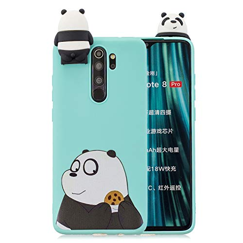 Funda Xiaomi Redmi Note 8 Pro, KANTAS 3D Carcasa de Silicona Cover Suave Ultra Fino Dibujos Animados Finamente Estera Ligero Estuche Protección para Xiaomi Redmi Note 8 Pro Azul Oso