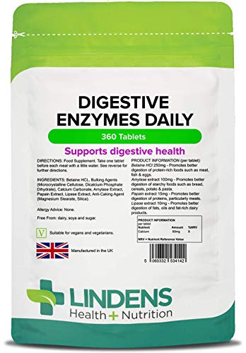Lindens Digestive Enzymes Daily Tablets | 360 Pack | Contains Betaine Hcl, Papain, Amylase & Lipase to Promote Better Digestion