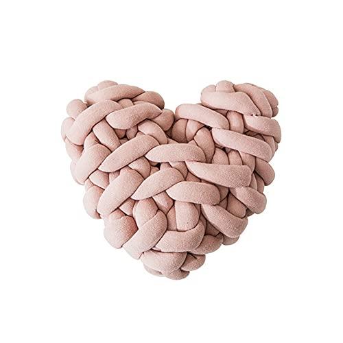 Pyude Cojín de Nudo Tejido Hecho a Mano en Forma de corazón Almohada de Nudo de Felpa Suave cojín de Color macarrón decoración del hogar