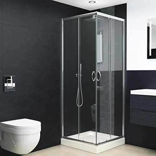 "Corner Shower Enclosure Clear Glass Sliding Shower Doors, Chrome Finish Bath Shower Door Glass 35.4""x31.5""x70.9""(Lx W x H)"