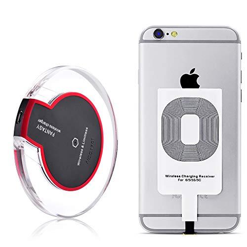Caricabatterie wireless Qi, pad di ricarica wireless + ricevitore per iPhone 8 7/7 Plus 6s / 6s Plus / 6/5 / 5s / 5c, Galaxy Galaxy S7 / S7 Edge, S8 / S8 Plus, S6 / S6 Edge / Plus