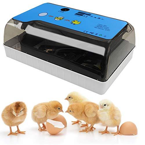 GNEGNIS Brutmaschine Vollautomatisch, Automatischer Rollover Inkubatoren Brutapparat mit LED Temperatur Beleuchtung für Hühnereier Wachteleier