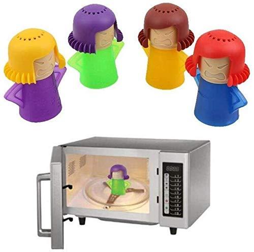 Limpiador de microondas Angry Mama para horno de microondas, limpiador de vapor de hornos de microondas, fácil de limpiar en minutos - herramienta de limpieza de cocina (verde+azul+púrpura+naranja)