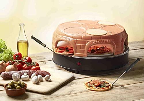 Emerio PO-116100.1 Pizzarette Original Pizza-Ofen für 6 Personen mit Schamott-Pizzastein Pre-Bake-Funktion