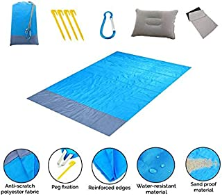 4EVERUS Outdoor Beach Blanket |Compact and Waterproof Large Family Mat | Lightweight, Sandproof Blanket for Travel Picnic, Backpacking, Camping, Festival, Hiking |Sandfree Mat with 4 Additional Gifts