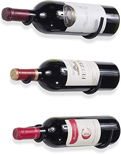 Estante para Botellas De Vino De Hierro Montado En La Pared para Decoración del Hogar Y La Cocina Set 3 Almacenamiento De Vino Negro