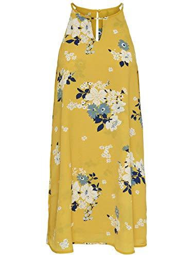 ONLY Damen Onlmariana Myrina S/L Dress Noos WVN Kleid, Mehrfarbig (Vibrant Yellow AOP:MIE Flower), (Herstellergröße:40.0)
