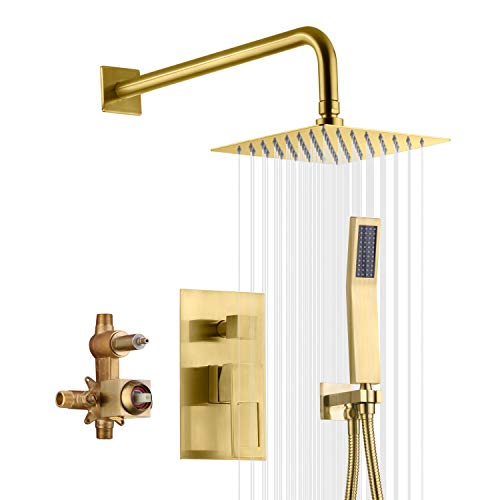 sumerain Brushed Brass Shower System Pressure Balance Shower Faucet, 8 Inches Square Rain Shower Head and Hand Shower, Including Rough-In Valve
