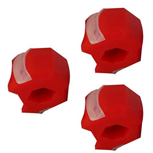 SWWS 3 Piezas por Paquete Masseter Trainer Jaw Entrenador Jaw Entrenador Jaw Ejercitora Facial Muscle Chewer Double Chin Reducer Eliminator, sin Sabor y Durable Aliviar e Red-L