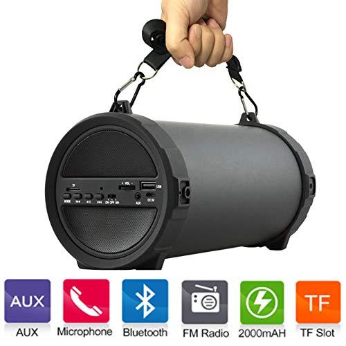 Altavoz Inalámbrico Al Aire Libre del Bluetooth Cilindro Altavoces Bajos con El Poder Banco Altavoces Boombox Inalámbrico Interior/Al Aire Libre con La Tarjeta Micro del SD, USB, AUXILIO, Radio FM