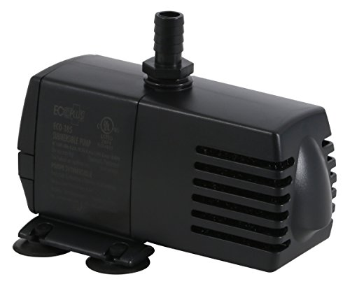 EcoPlus Eco 185 Water Pump Fixed Flow Submersible Or Inline For Aquariums, Ponds, Fountains & Hydroponics - UL Listed, 158 GPH, Black
