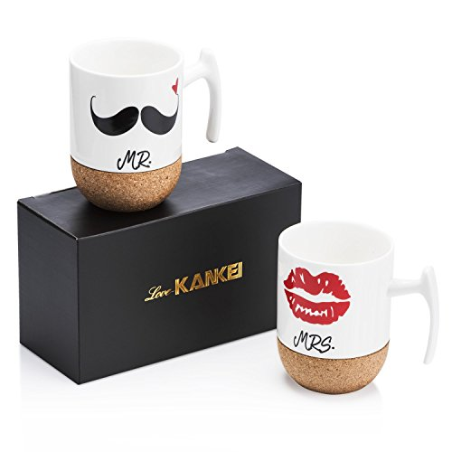 Mr & Mrs - Tasses à café en porcelaine