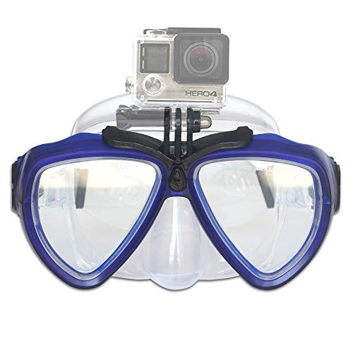 PATALACHI Silicone Diving Glass with Detachable Screw Mount Diving Mask Scuba Snorkel Swimming Goggles for Sports Camera GoPro HD Hero 8/7/6/5/4/3,GoPro Session,5/4 Session,DJI Osmo Action (Black)