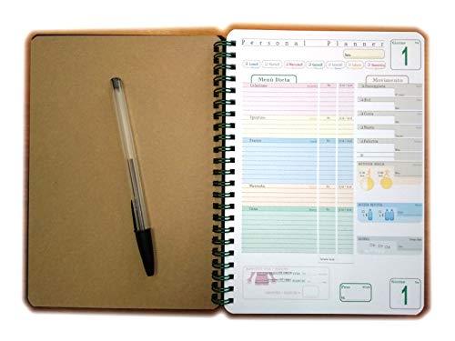 Personal planner - Diario alimentare - agenda perdita peso, attività fisica - Blocco spirale 15x21cm
