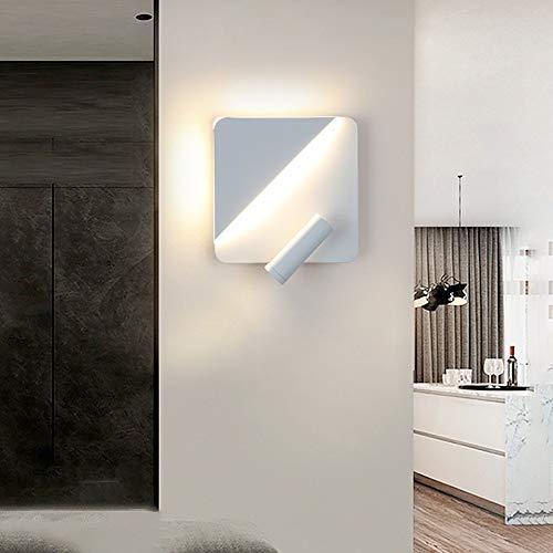 ZXJUAN Home Lighting Creatieve Led Ronde Vierkante Wandlamp Met Leeslamp Woonkamer Hotel Kamer Dubbele Controle Draaibaar Nachtlampje