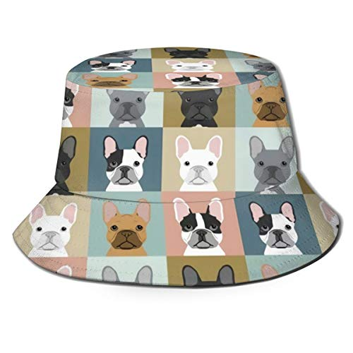 YongColer Fishing Hunting Summer Travel Bucket Cap Hat - French Bulldog Dog Checkered