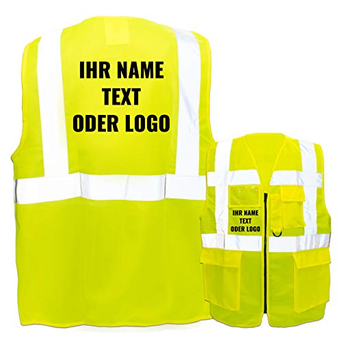 Warnweste mit Reißverschluss und Taschen * Druck auf Rücken + Front/Standard-Druck * Farbe & Größe: Gelb/Größe XL * Aufdruck selbst gestalten * Bedruckt mit Design Foto Text Logo