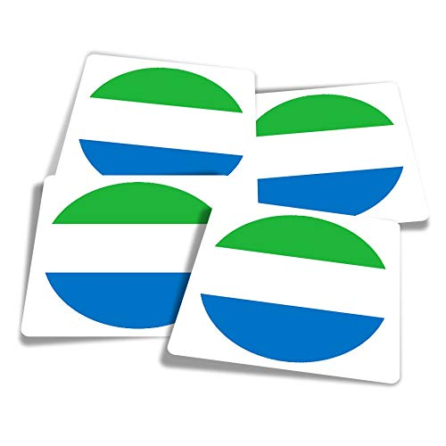 Vinyl Stickers (Set of 4) 10cm - Sierra Leone West Africa Travel Fun Decals for Laptops,Tablets,Luggage,Scrap Booking,Fridges #9094