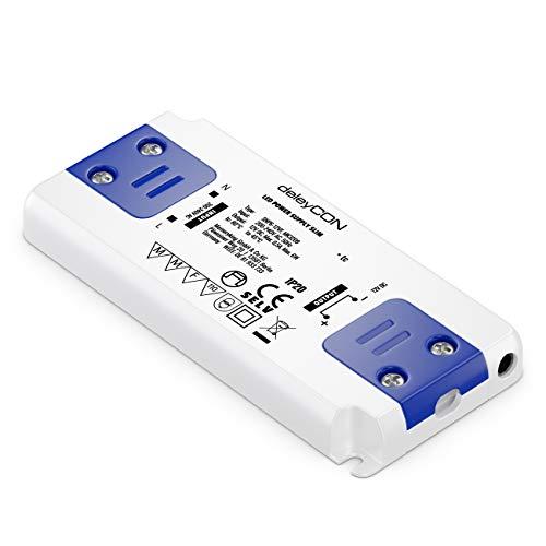 deleyCON 12V LED Extra Plano Transformador Adaptador Slim 0-6W 200-240V a 12V DC LED Lámparas Cintas de Luz G4 MR11 MR16 Luces Sobrecarga Sobrecalentamiento Cortocircuito