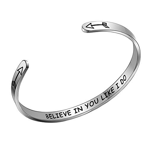 BUETERE Women Fashion Jewellery Inspirational Open Cuff Bracelet Bangle Engraved Believe in You Like I Do Silver Stainless Steel Bracelet for Friends Sisters Small Keepsakes