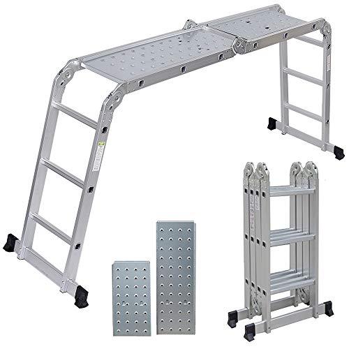 Artall Aluminium Mehrzweckleiter 4 x 3 Sprossen mit 2 Gerüstplatten, bis 150KG, 3,6m Gesamtlänge, Gelenkleiter, Vielzweckleiter, Gartenleiter, Leitergerüst