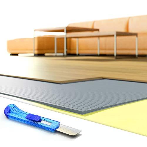 DQ-PP Trittschalldämmung | 30m2 | 5mm stark | XPS grau | 0,5x1,0m Platten | GRATIS Cuttermesser | Dämmung Unterlage für Laminat Boden Parkett Fußboden | Trittschalldaemmung Daemmung Unterlagen