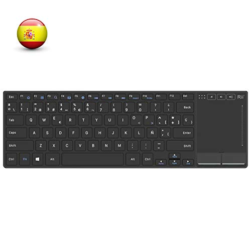Rii K22 Teclado miniSlim Multimedia. Función inalámbrica 2.4GHz, Cubierta Ultra-Resistente de aleación de Aluminio y batería de Ion-Litio para PC, portátil, Raspberry Pi2/Pi3, Smart TV, Android Box