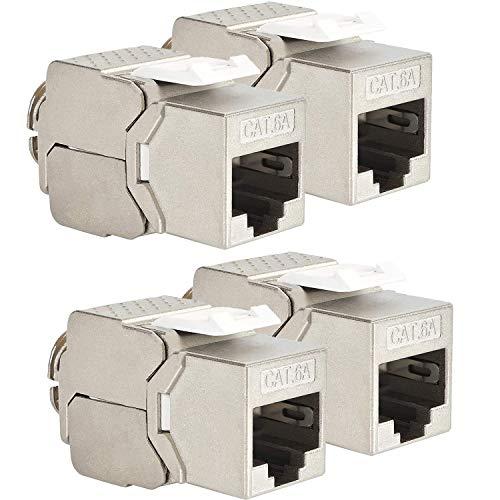 VESVITO 4x RJ45 CAT6A Keystone Jack Buchse für Patchpanel Patchfeld bis 10 GBit/s 500MHz werkzeuglos, PoE++, für CAT7A CAT7 CAT6A CAT6 AWG 22-26 Netzwerkkabel Verlegekabel Installationskabel LAN Kabel