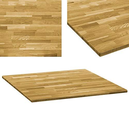 vidaXL Eichenholz Tischplatte 23mm 80x80cm Holz Platte für Couchtisch Esstisch