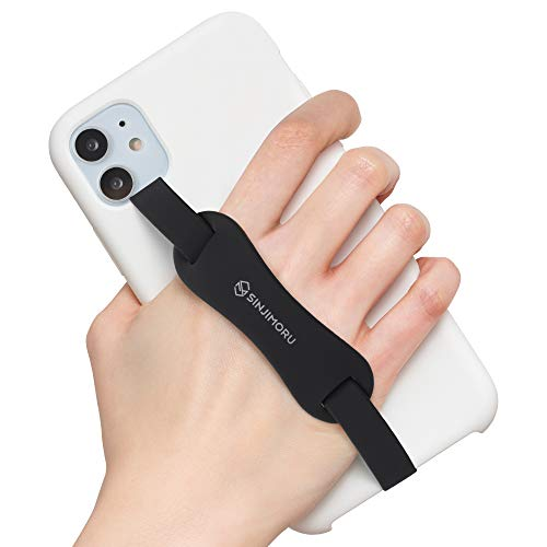 Sinjimoru Universal Silicone Phone Grip Holder, as Cell Phone Stand, with Elastic Phone Finger Strap for Android/iPhone Case. Sinji Loop Stand Black