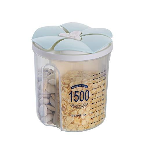 Jmahm Müsli-Spender, Behälter, Lebensmittelbehälter, für Pasta, luftdicht, transparenter Kunststoff mit mehreren Fächern, Kalibrierung, hält Lebensmittel frisch, plastik, grün, 1500ml / 3 Grid