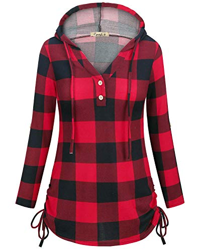 Women's Long Sleeve Henley V-Neck Button Sweatshirt Tunic Hoodies Casual Pullover with Drawstring Red Plaid Small